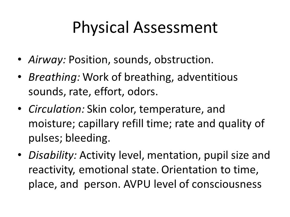 Physical Assessment Airway: Position, sounds, obstruction.