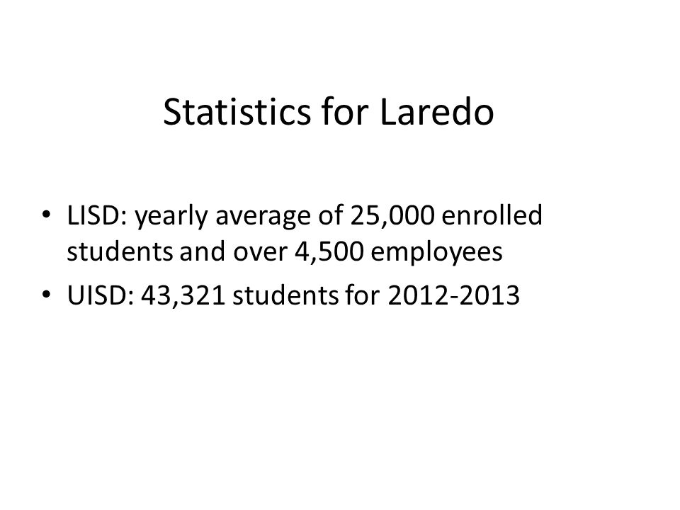 Statistics for Laredo LISD: yearly average of 25,000 enrolled students and over 4,500 employees.