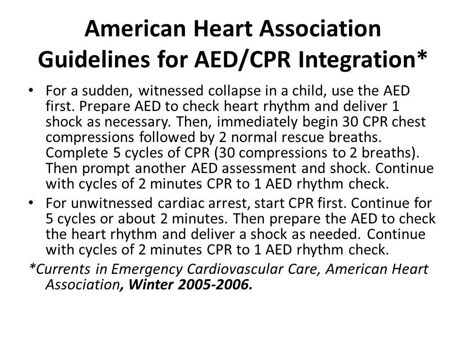 American Heart Association Guidelines for AED/CPR Integration*