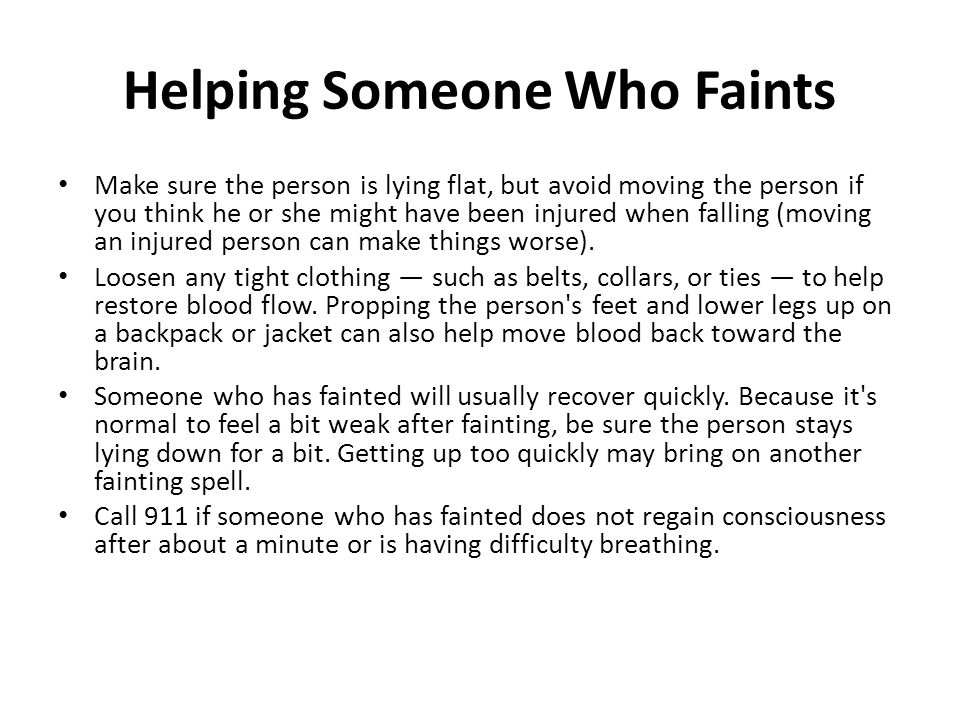 Helping Someone Who Faints