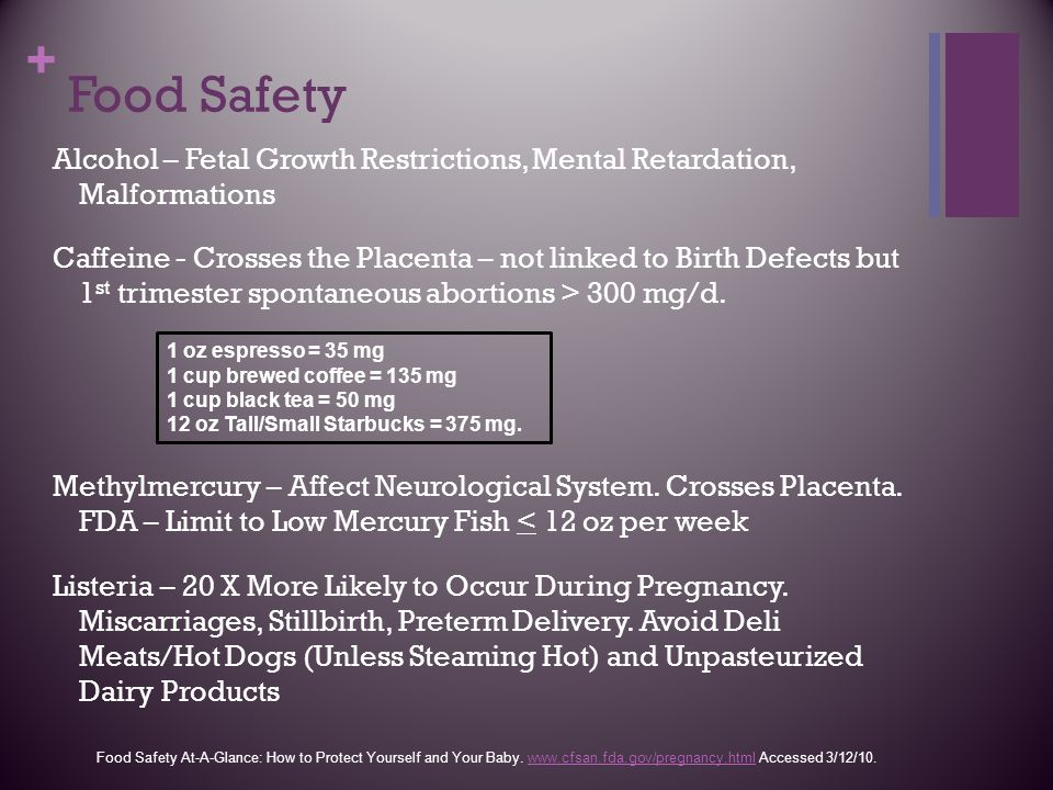 Food Safety Alcohol – Fetal Growth Restrictions, Mental Retardation, Malformations.