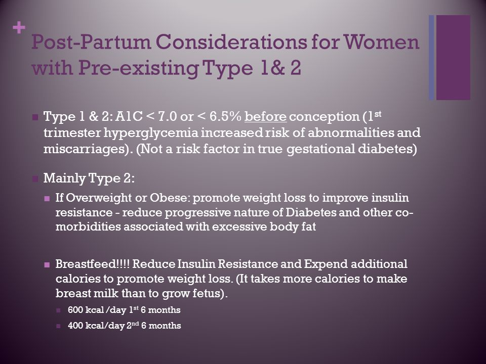 Post-Partum Considerations for Women with Pre-existing Type 1& 2
