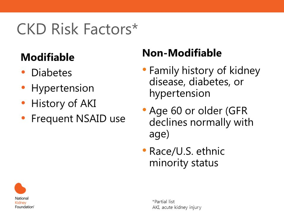 CKD Risk Factors* Non-Modifiable