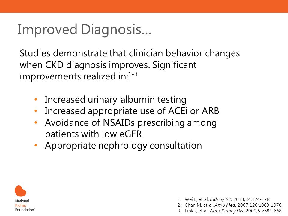 Improved Diagnosis… Studies demonstrate that clinician behavior changes when CKD diagnosis improves. Significant improvements realized in:1-3.