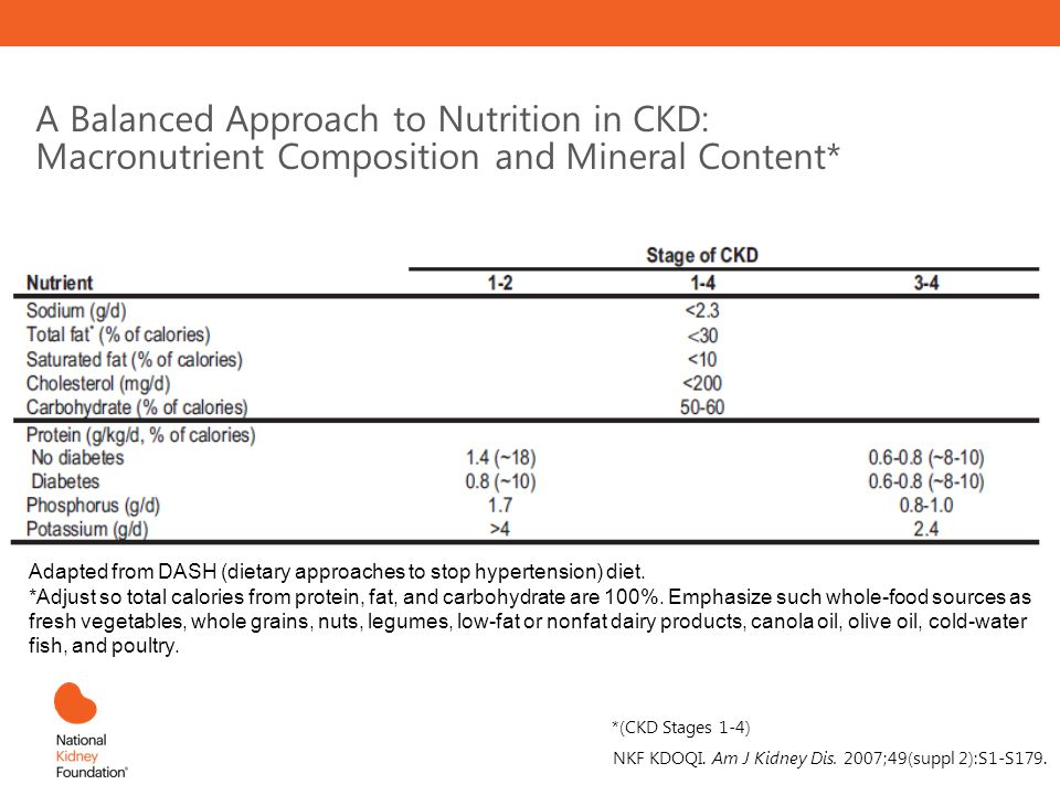 A Balanced Approach to Nutrition in CKD: Macronutrient Composition and Mineral Content*