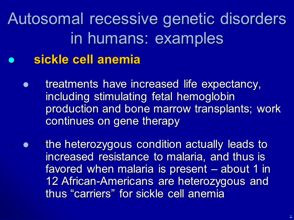 Autosomal recessive genetic disorders in humans: examples