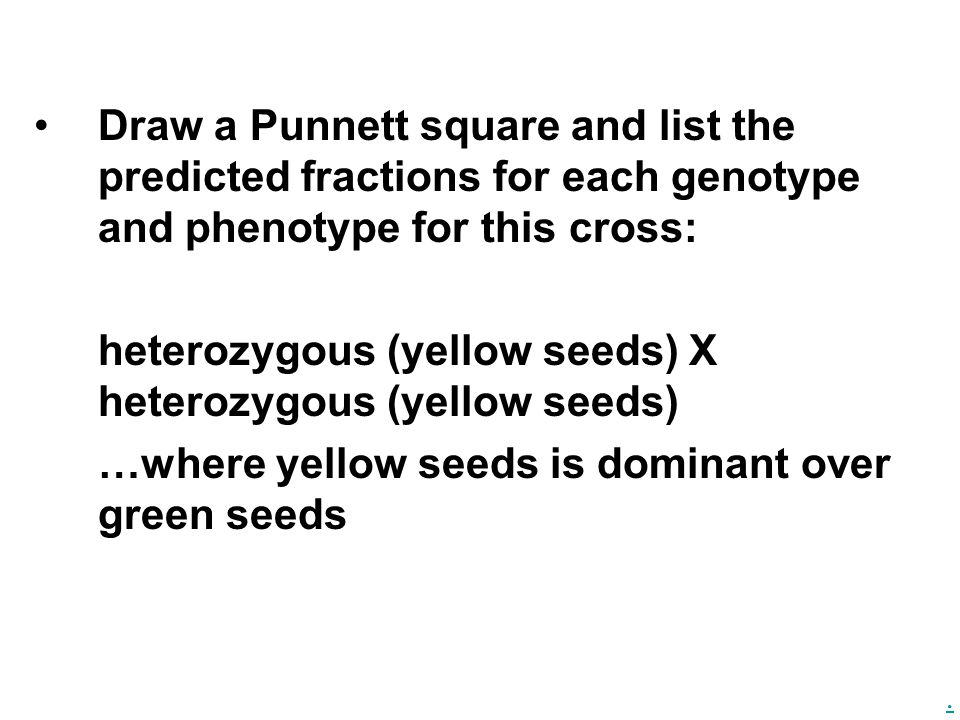 Draw a Punnett square and list the predicted fractions for each genotype and phenotype for this cross: