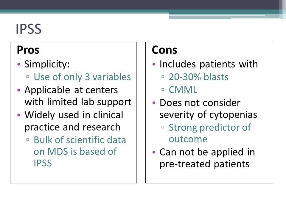 IPSS Pros Cons Simplicity: