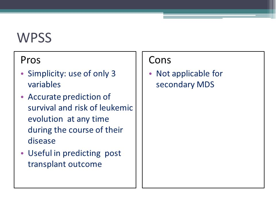 WPSS Pros Cons Simplicity: use of only 3 variables