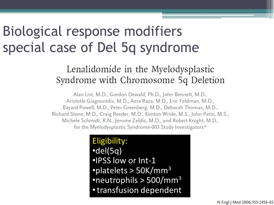 Biological response modifiers special case of Del 5q syndrome