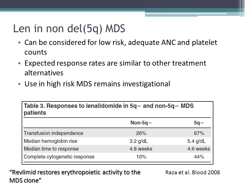 Len in non del(5q) MDS Can be considered for low risk, adequate ANC and platelet counts.
