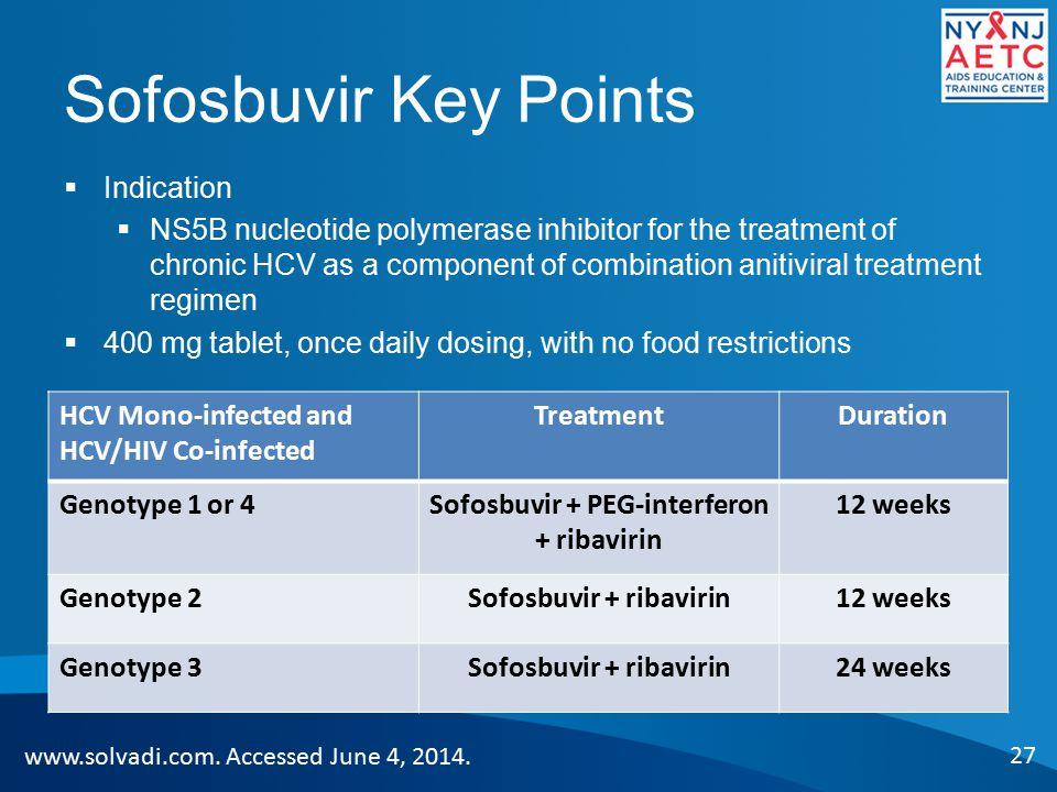 Sofosbuvir + PEG-interferon + ribavirin Sofosbuvir + ribavirin