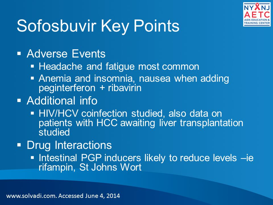 Sofosbuvir Key Points Adverse Events Additional info Drug Interactions