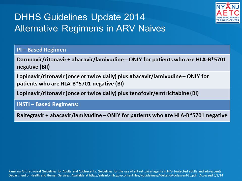 DHHS Guidelines Update 2014 Alternative Regimens in ARV Naives