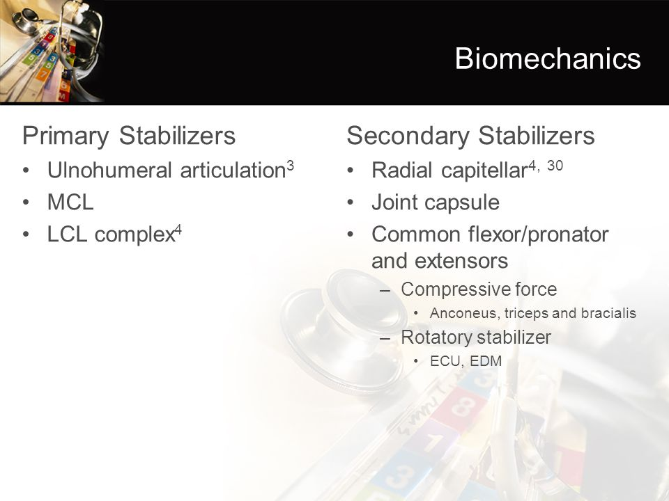 Biomechanics Primary Stabilizers Secondary Stabilizers