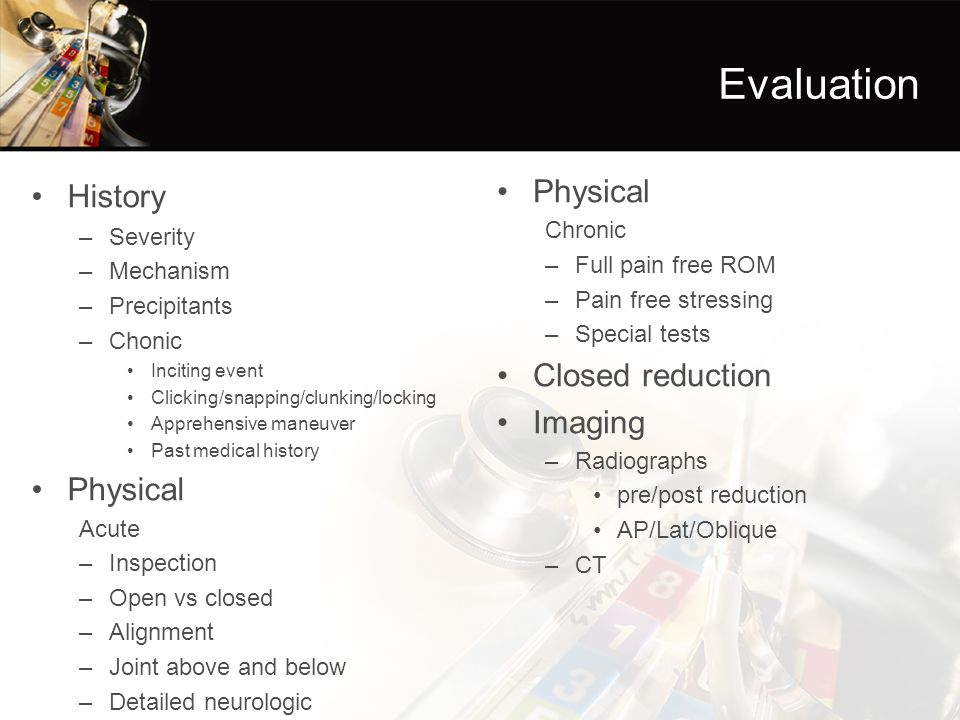 Evaluation History Physical Physical Closed reduction Imaging Chronic