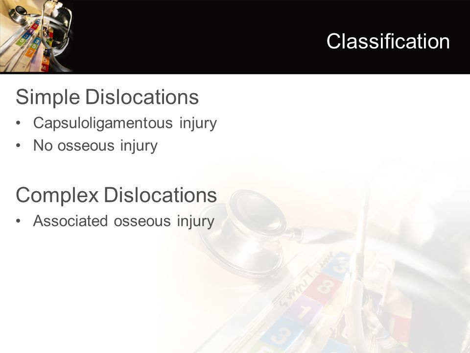 Classification Simple Dislocations Complex Dislocations