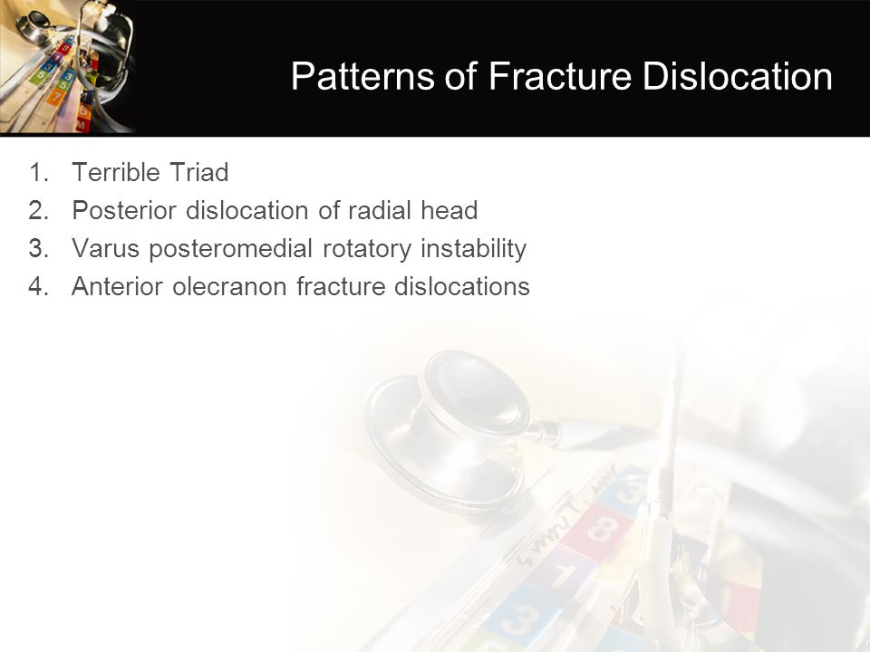 Patterns of Fracture Dislocation