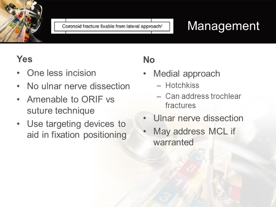 Management Yes No One less incision Medial approach