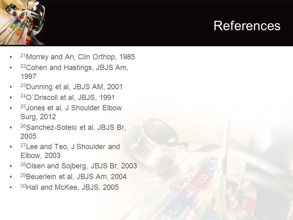 References 21Morrey and An, Clin Orthop, 1985