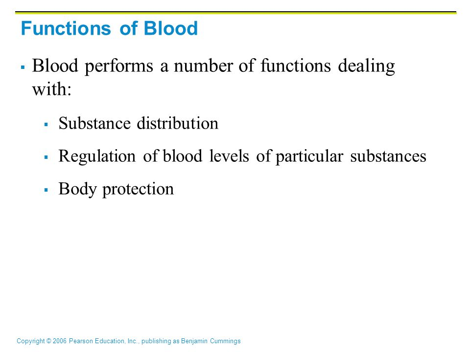 Blood performs a number of functions dealing with: