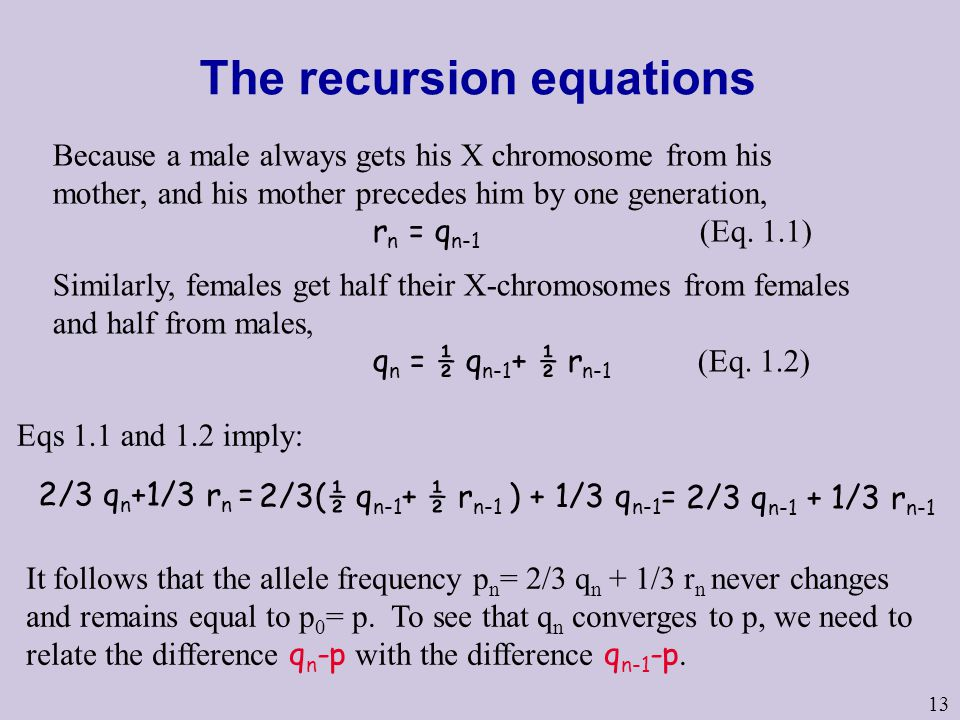 The recursion equations