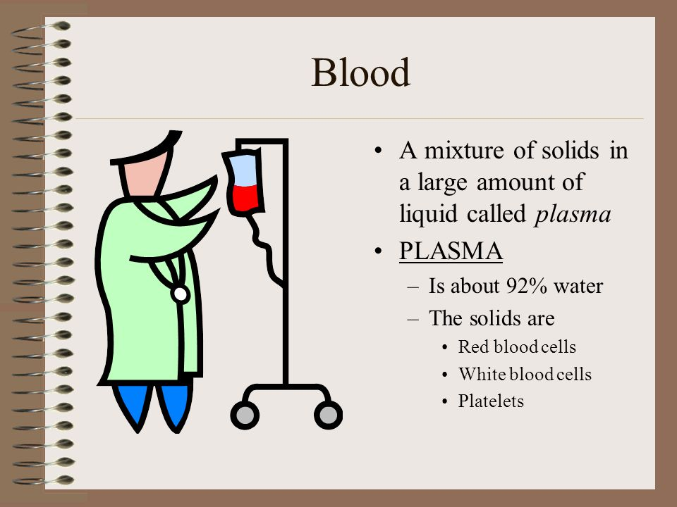 Blood A mixture of solids in a large amount of liquid called plasma