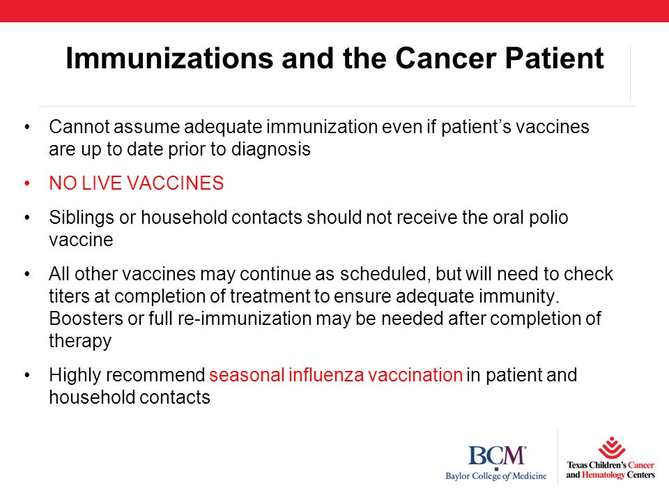 Immunizations and the Cancer Patient