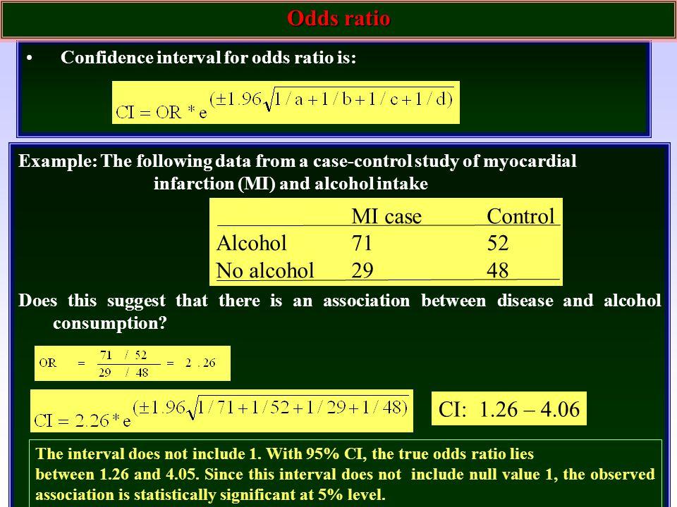 Odds ratio MI case Control Alcohol 71 52 No alcohol 29 48