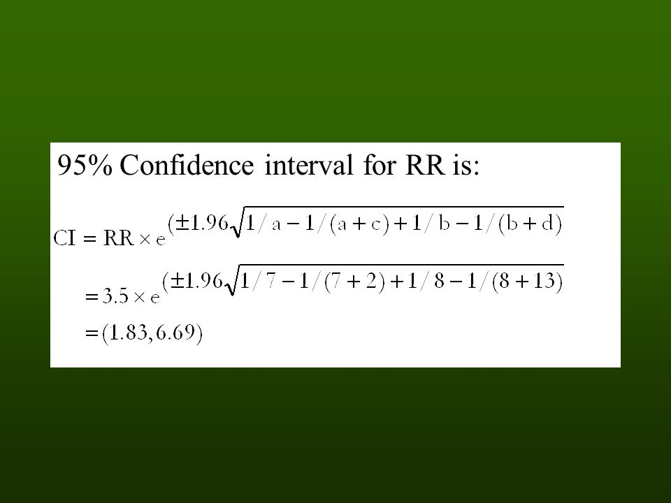 95% Confidence interval for RR is: