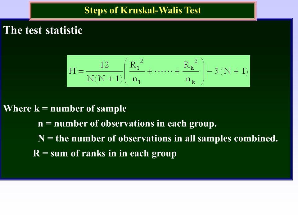 Steps of Kruskal-Walis Test