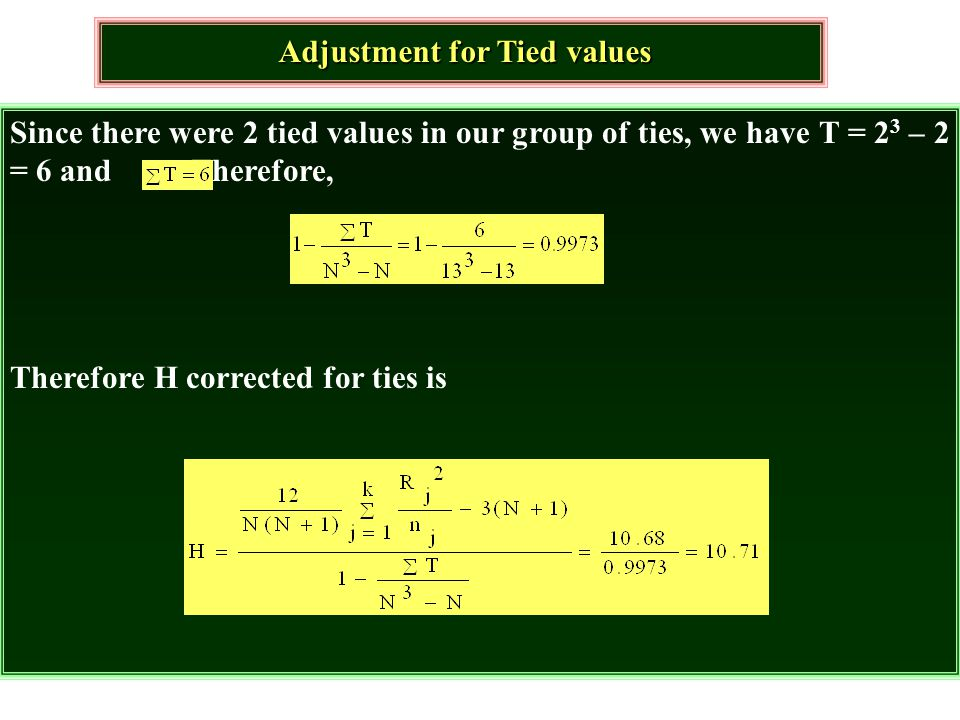 Adjustment for Tied values
