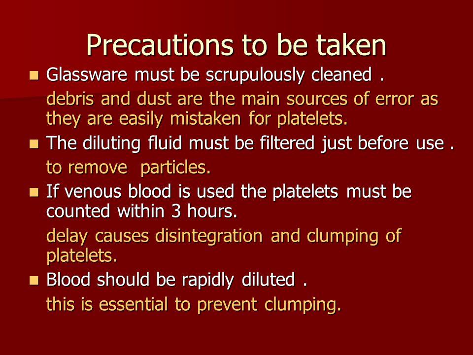 Precautions to be taken