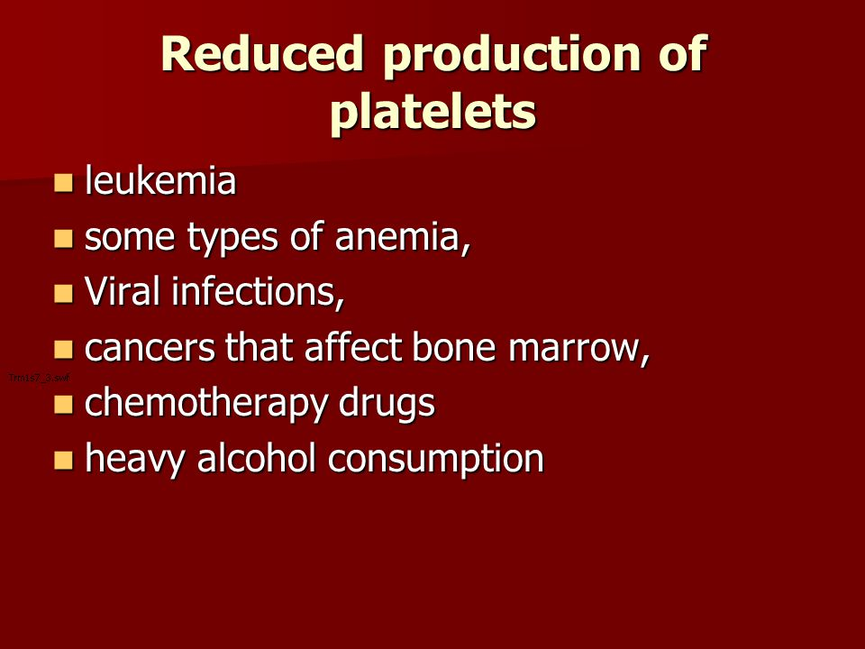 Reduced production of platelets