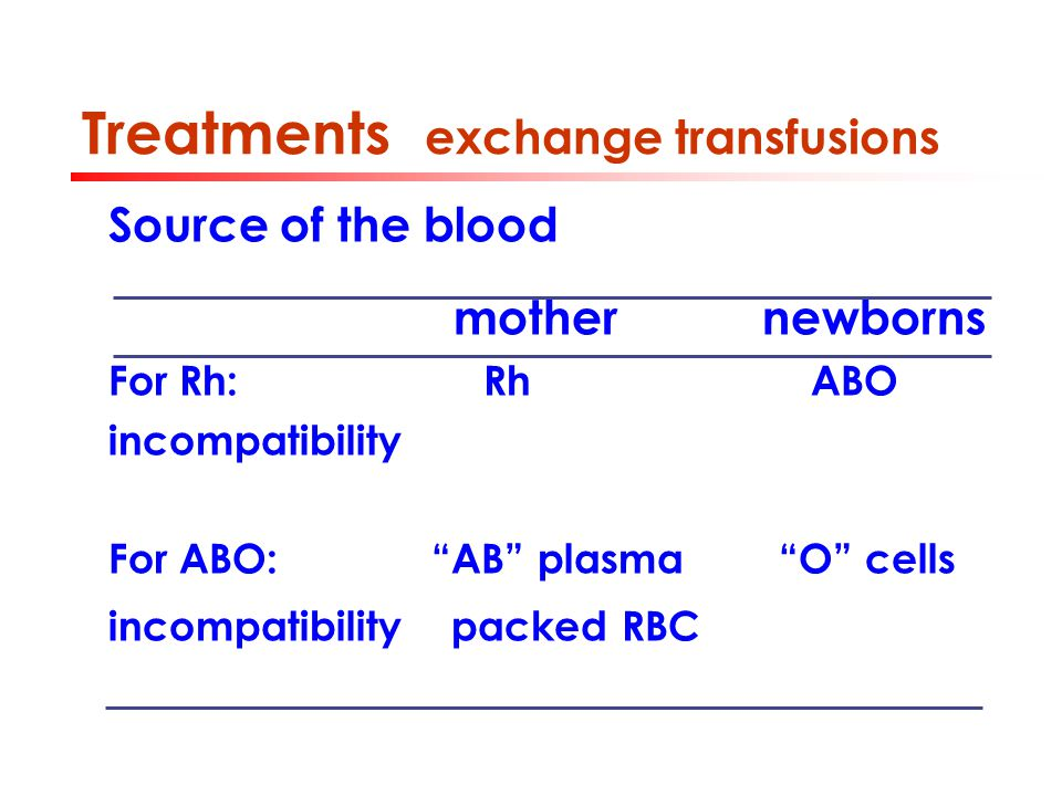 Treatments exchange transfusions