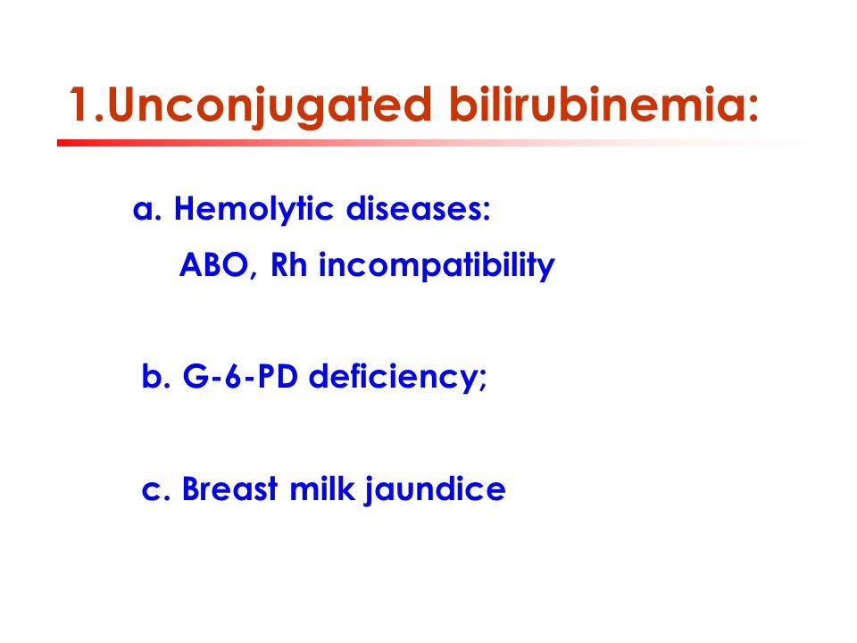 1.Unconjugated bilirubinemia: