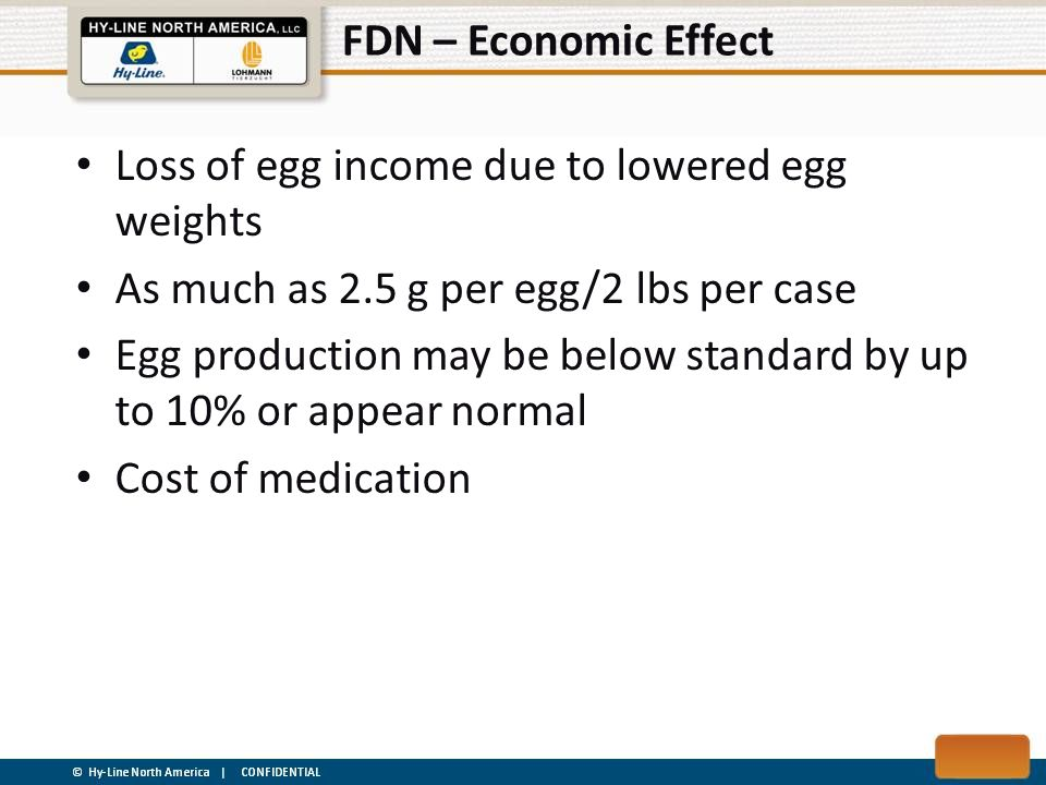 FDN – Economic Effect Loss of egg income due to lowered egg weights. As much as 2.5 g per egg/2 lbs per case.