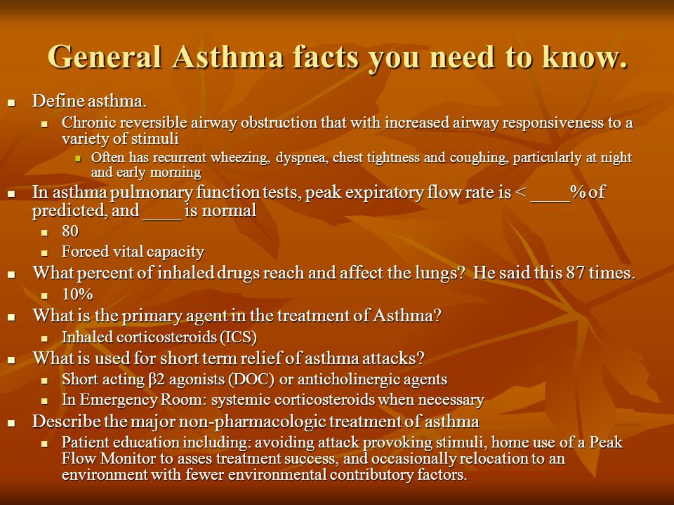 General Asthma facts you need to know.