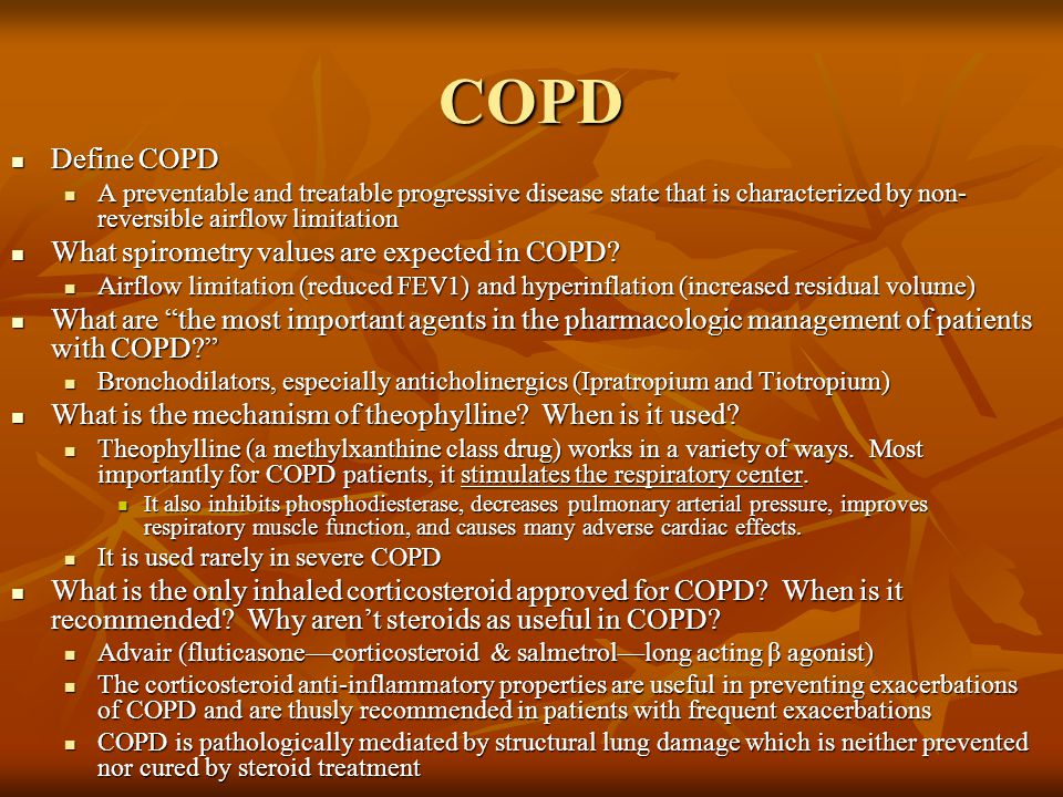 COPD Define COPD What spirometry values are expected in COPD