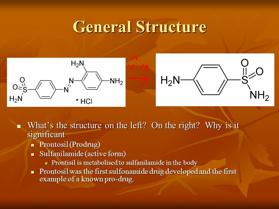 General Structure What's the structure on the left On the right Why is it significant. Prontosil (Prodrug)