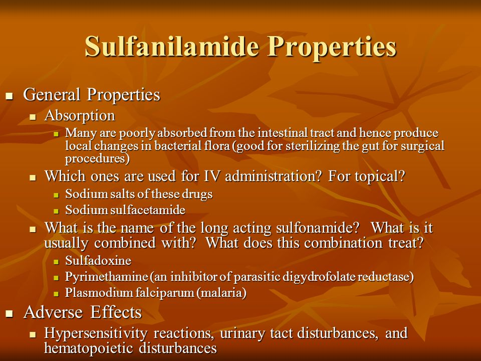Sulfanilamide Properties