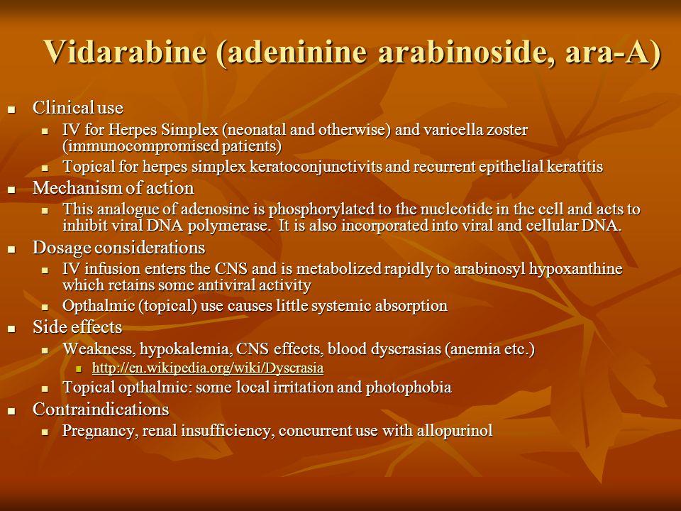 Vidarabine (adeninine arabinoside, ara-A)