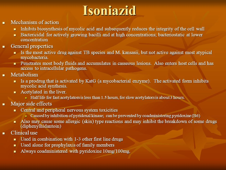 Isoniazid Mechanism of action General properties Metabolism