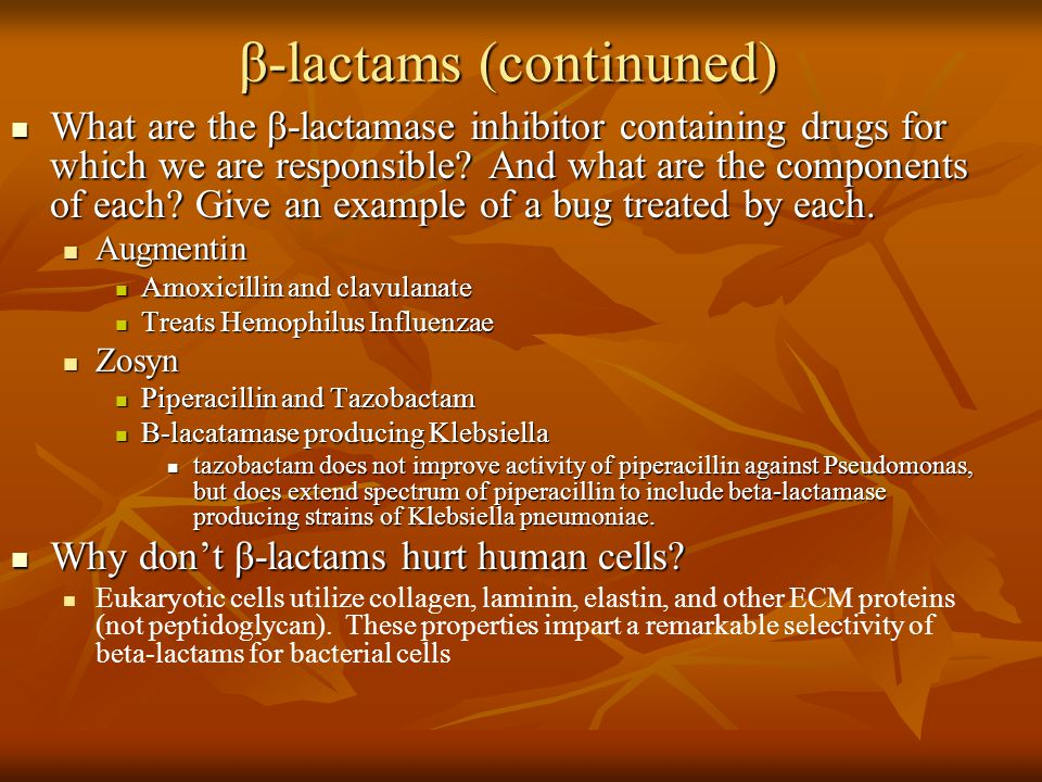 β-lactams (continuned)