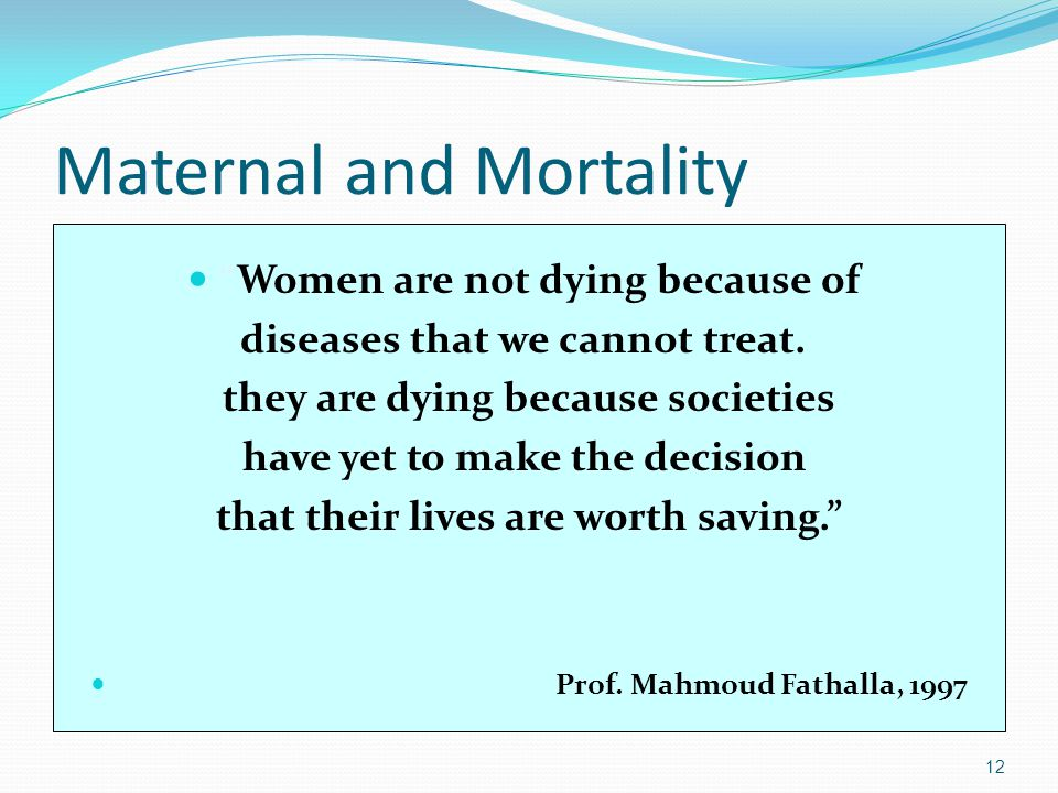 Maternal and Mortality