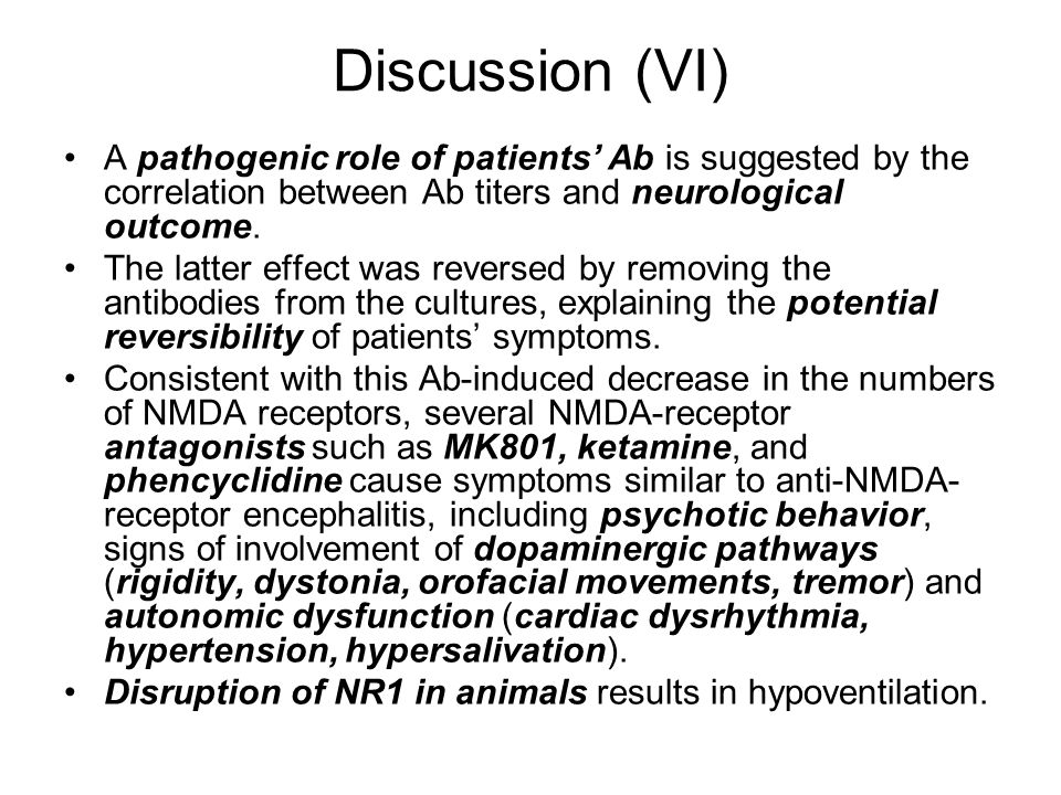 Discussion (VI) A pathogenic role of patients' Ab is suggested by the correlation between Ab titers and neurological outcome.
