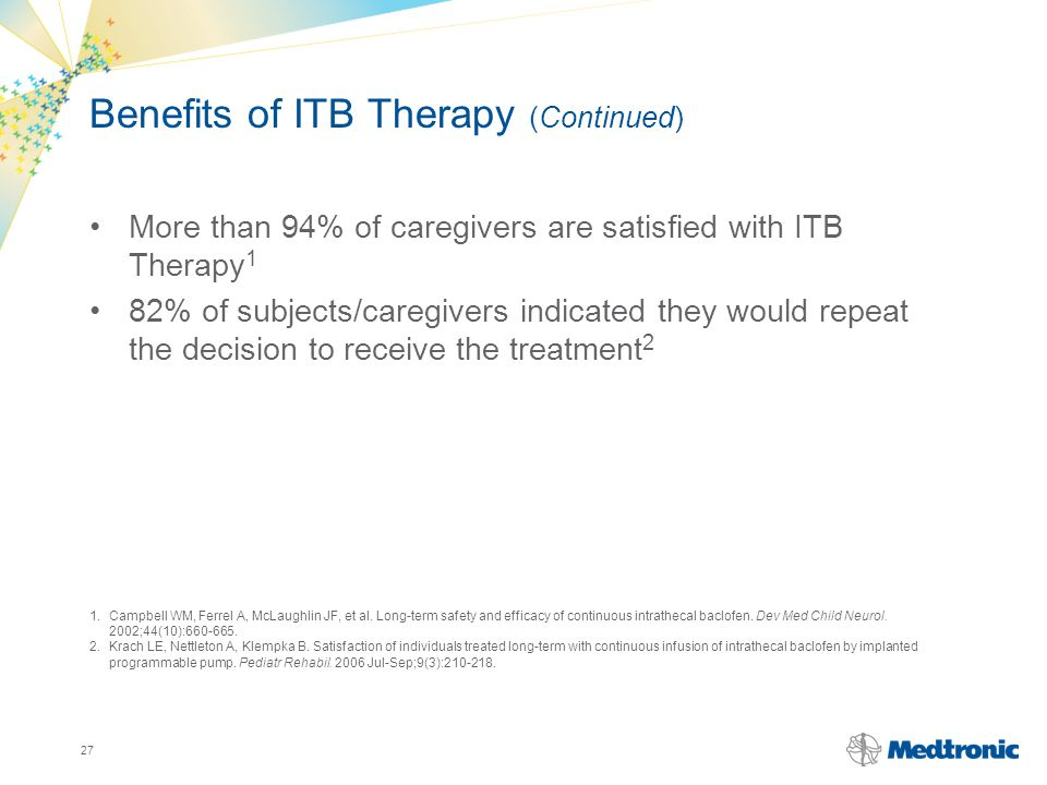 Benefits of ITB Therapy (Continued)