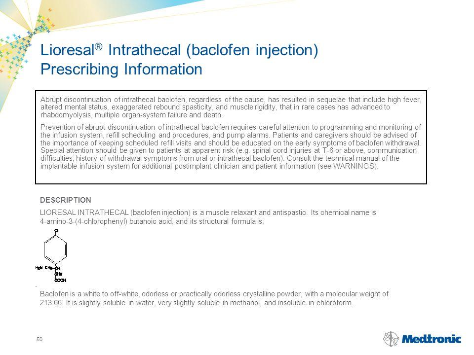 Lioresal® Intrathecal (baclofen injection) Prescribing Information