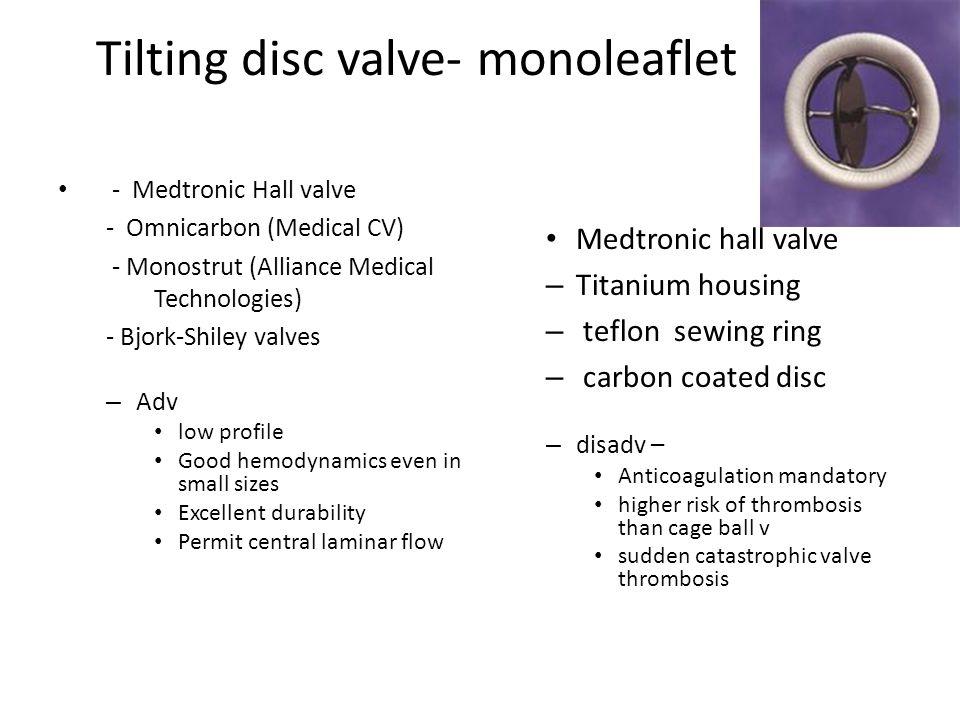Tilting disc valve- monoleaflet