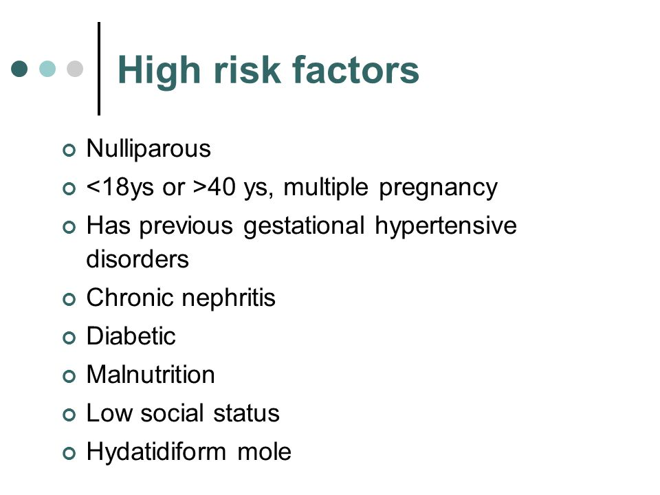 High risk factors Nulliparous